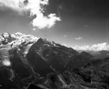 Black and white image of Mont Blanc Massif