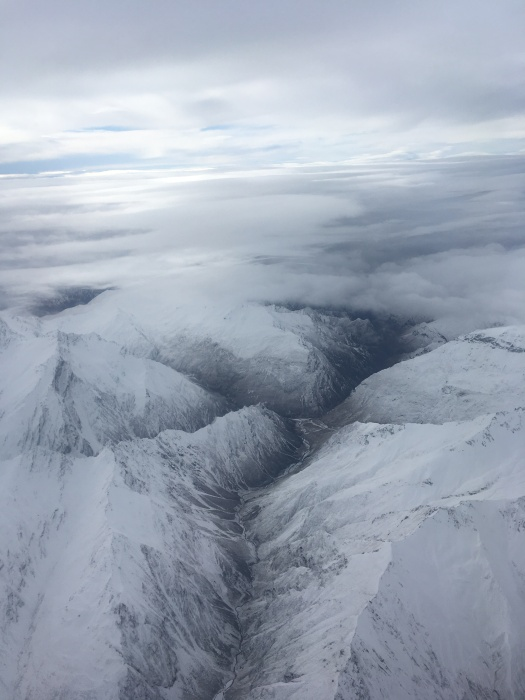 The view from the plane flying into Queenstown