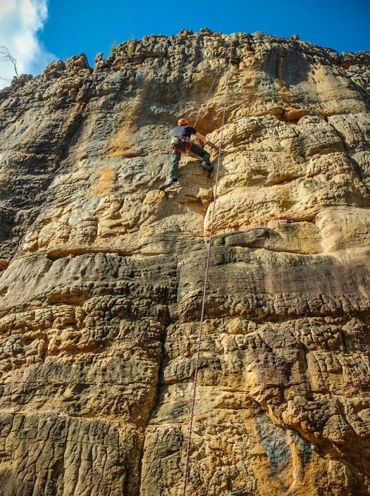Rock Climber on Overkill Summerday Valley Grampians