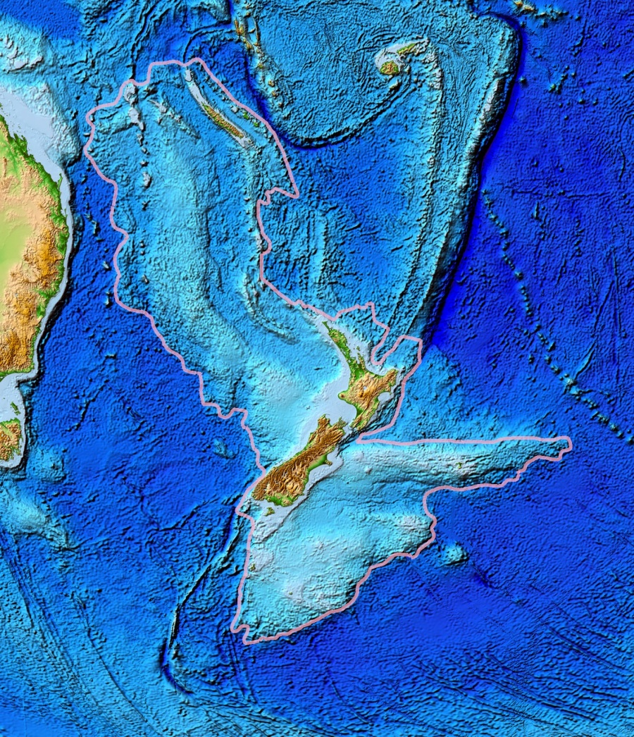 Topographical Map of Zealandia