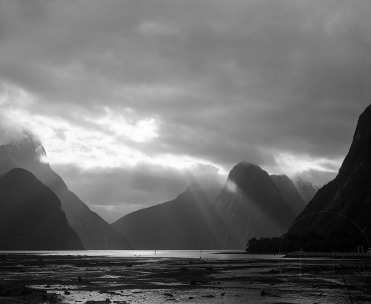 Black and white photo of milford sound